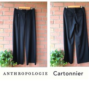 {Anthro} Cartonnier Black Sailor Wide Leg Trousers